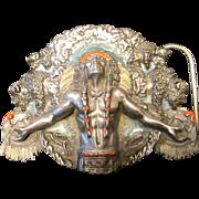 SOLD Inspiring Native American Indian Brass Prayer Belt Buckle by Bergamot Brass Works - 1981
