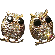 SALE Free Ship! Paved AB Rhinestone Perched Owl Post Earrings