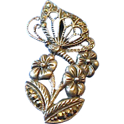 "REDUCED Free Ship - ""Morning Butterfly Flower"" Marcasite Sterling Silver Slide Penda"