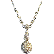 SALE FREE SHIP ~ Signed GIVENCHY Clear AB Crystal Rhinestone Pave Ball Necklace