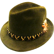 "STETSON FEDORA ""Sovereign"" Fur Felt Green with Feathered Accent Size 7 - c1960s"