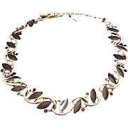 SALE Beautiful TRIFARI Link Necklace Choker with Golden Tone Curves and Black Navette/Round Ca