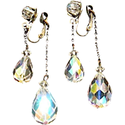 REDUCED Gorgeous Crystal Dangle AB Clips Reflect Colors of the Rainbow
