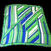 SALE Vintage Vera Neuman 100% Silk Blue - Green - White Geometric & Striped Scarf