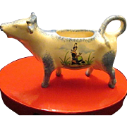 Vintage Desvres Porcelain Hand Painted Cow Creamer - Made in France