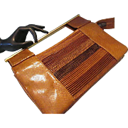 REDUCED Vintage Susan Gail Genuine Snake Skin Purse Handbag Made In Spain