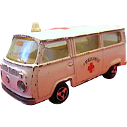 Vintage MAJORETTE Red Cross Toy Ambulance - Fourgon VW No. 244 - Made in France