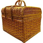 "Vintage Wicker ""Picnic Time"" Basket with Setting/Accessories for 4"