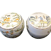 2 Round Lidded Japanese Porcelain Hand-Painted Trinket Boxes