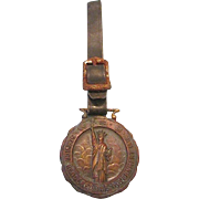 Vintage WWI WWS (War Savings Stamps) Service Brass/Bronze Watch Fob with Original Leather Stra