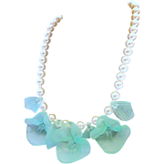 Faux Pearl Choker Necklace with Molded Green Vasilene Glass Style Plastic Floral Leaf Center
