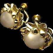 Vintage Soft Grey Moon Glow Screw Back Earrings