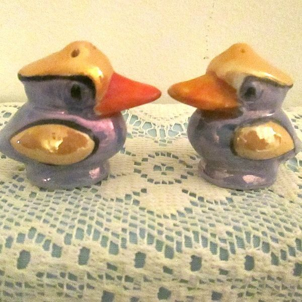 Figural Duck Luster Ware Salt & Pepper Shakers Hand Painted From Japan