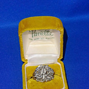 Large Vintage Signed Panetta Sterling Silver Rhinestone Cocktail Ring in the Panetta Box