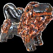 Southern Folk Art Pottery Lion Figural by North Carolina Potter Billy Hussey