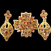 Ambers Rhinestone Maltese Cross brooch and Drop Clip Earrings signed