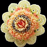 Celluloid flower Bouquet with lace trim