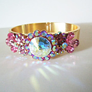 Show Stopper Gorgeous Pink Rivoli and Rhinestone Clamper Bracelet