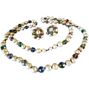 EARLY Laguna Faux Pearl and pink, blue, green and yellow crystal necklace and earrings
