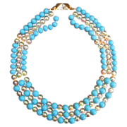 Stunning  Aqua Blue Milk Glass & opalescent bead necklace
