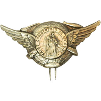 St Christopher Large Winged Medal Clip