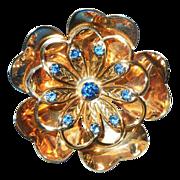 c1940's Gold Wash brooch pendant  Flower with blue rhinestones