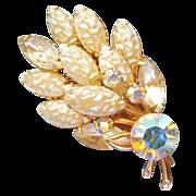 Wonderful Baroque faux pearl AB rhinestone brooch