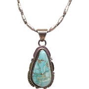 Signed J. Nelson Navajo Sterling Turquoise necklace