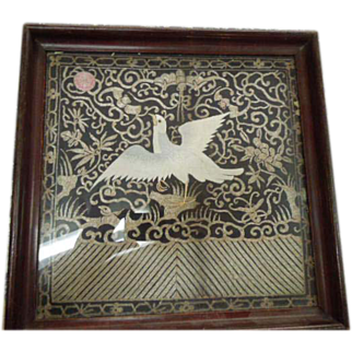 SALE Framed Japanese Silk and Metallic Thread Embroidery Tea Tray