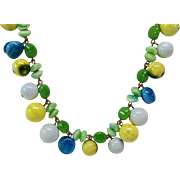 Glass Bead Nugget Necklace and earrings ~~  Outstanding!