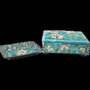China Baked Enamel cigarette box and ash tray