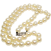 "exquisite Matched Akoya Champagne White Cultured Pearls & 14K S 16"" Vintage Necklace"
