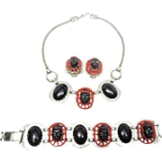 Selro Selini Black and Red Asian Princess Set Necklace,bracelet