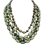 Stunning Tiger Eye and African Turquoise 4 strand necklace