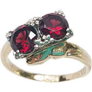 14K white and yellow gold Garnet ring size 6.75  1.30 tcwt
