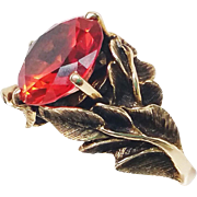 "14K Solid Gold Padparadschah Sapphire STRELL ""Philodendron"" 11.6g Ring RARE!"