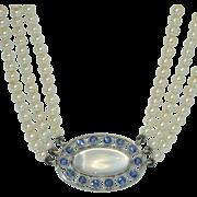 Rare Antique Platinum, Moonstone, Yogo Sapphire Necklace