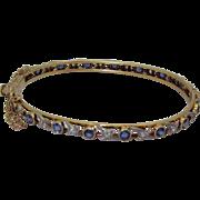 Rare Sapphire & Diamond 14K All-around Bangle