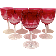 SOLD Czech or Bohemian Set (8) Ruby Cut Clear Goblets