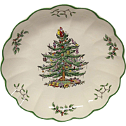 "Spode Christmas Tree 8 3/8"" Ruffled Serving Bowl, England"