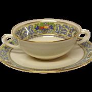 Vintage Lenox Autumn Cream Soup & Stand, Black Mark