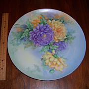 Gorgeous, German Weimar Signed Hand Painted Charger or Plaque with Mums