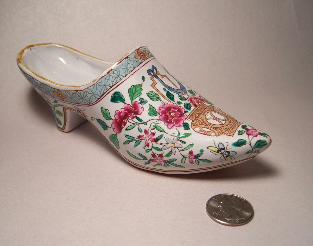 Antique Faience Woman's Tin Glazed Shoe, Butterflies & Flowers