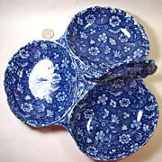 Lovely Calico Chiltz Flow Blue Burslem 3-Part Relish