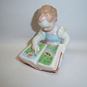 "Charming Herend Girl with Book ""Difficult Task"" Figurine"