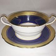 Aynsley Cobalt and Gold Buckingham Cream Soup & Saucer