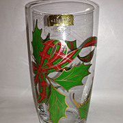 Lenox Holiday Pattern Crystal Highball, Plaid Ribbon