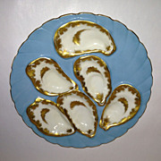 Haviland & Co Powder Blue & Gold Oyster Plate