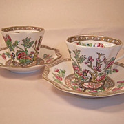 Two Coalport Indian Tree Scalloped Cup and Saucers