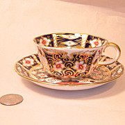 Antique Crown Derby Traditional Imari 2451 Cup and Saucer